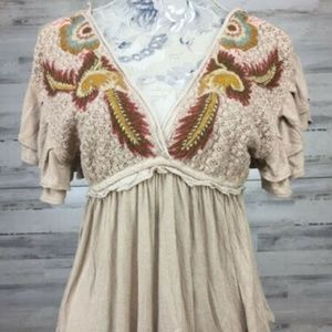 Free People Shirt Size XS Embroidered Ruffled Top
